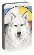 Spirit Wolf Portable Battery Charger by Brandy Woods