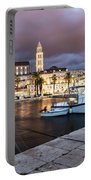 Split Harbor Night View In Croatia Portable Battery Charger