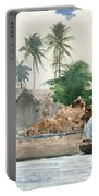 Sponge Fisherman In The Bahama Portable Battery Charger by Winslow Homer
