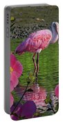 Spoonbill Through The Flowers Portable Battery Charger