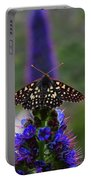 Spotted Moth On Purple Flowers Portable Battery Charger