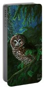 Spotted Owl In Ancient Forest Portable Battery Charger