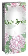 Spring  Background  With Pink Peonies And Flowers.  Portable Battery Charger
