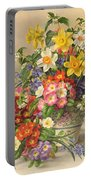 Spring Flowers And Poole Pottery Portable Battery Charger by Albert Williams