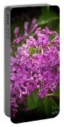 Spring Lilacs On Black Portable Battery Charger