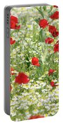 Spring Meadow With Poppy And Chamomile Flowers Portable Battery Charger