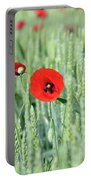 Spring Scene Green Wheat And Poppy Flowers Portable Battery Charger