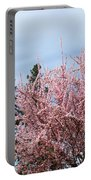 Spring Trees Bossoming Landscape Art Prints Pink Blossoms Clouds Sky  Portable Battery Charger