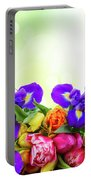 Spring Tulips And Irises Portable Battery Charger