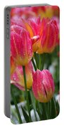 Spring Tulips In The Rain Portable Battery Charger by Rona Black