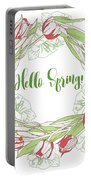 Spring  Wreath With Pink White Tulips Portable Battery Charger