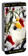 Springtime Tulips In The Snow Poster Print Portable Battery Charger