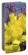 Springtime Yellow Daffodils Art Print Pink Blossoms Blue Sky Baslee Troutman Portable Battery Charger