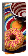 Sprinkled Donut On Circle Plate With Bowl Portable Battery Charger
