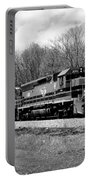 Sprintime Train In Black And White Portable Battery Charger by Rick Morgan