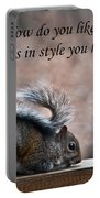 Squirrel With Fur Collar Portable Battery Charger