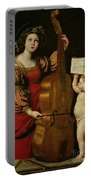 St. Cecilia With An Angel Holding A Musical Score Portable Battery Charger by Domenichino