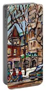 St Gabriel's Rectory  St Charles Church Rue Centre Pointe St Charles  Original Oil Painting Cspandau Portable Battery Charger