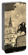 St. Louis Cathedral And Statue Portable Battery Charger