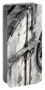 St. Saviour Church Window - Black And White Portable Battery Charger