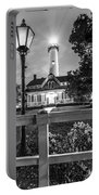 St. Simons Lighthouse Black And White Portable Battery Charger