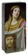 St. Veronica Holding The Holy Shroud Portable Battery Charger by Simon Vouet