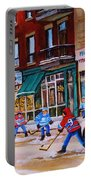 St. Viateur Bagel With Boys Playing Hockey Portable Battery Charger by Carole Spandau
