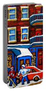 St Viateur Bagel With Hockey Montreal Winter Street Scene Portable Battery Charger by Carole Spandau