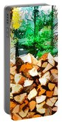 Stacked Fire Wood In Preparation For Winter 1 Portable Battery Charger