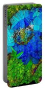 Stained Glass Blue Poppy One Portable Battery Charger