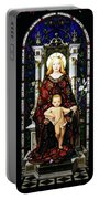 Stained Glass Of Virgin Mary Portable Battery Charger by Adam Romanowicz