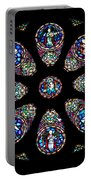 Stained Glass Rose Window In Lisbon Cathedral Portable Battery Charger