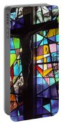 Stained Glass With Crucifix Silhouette Portable Battery Charger
