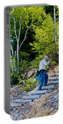 Stairway From Lake Superior Beach To Au Sable Lighthouse In Pictured Rocks National Lakeshore-michig Portable Battery Charger