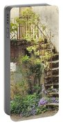 Stairway With Flowers Flavigny France Portable Battery Charger