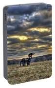 Stairways To Heaven Winter Sunrise The Iron Horse Art Portable Battery Charger