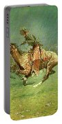 Stampede By Lightning, Digitally Enhanced, Frederic Remington Portable Battery Charger