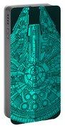 Star Wars Art - Millennium Falcon - Blue 02 Portable Battery Charger