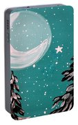 Starry Night Crescent Moon  Portable Battery Charger