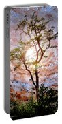 Starry Night Fantasy, Tree Silhouette Portable Battery Charger