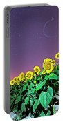 Starry Sky Over Colby Farm Sunflowers Newbury Ma Portable Battery Charger