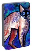 Startled Cornish Rex Cat Portable Battery Charger