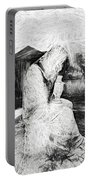 Statue Of Weeping Woman, Lafayette Cemetery, New Orleans In Black And White Sketch Portable Battery Charger