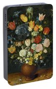 Still Life Of Flowers In A Stoneware Vase Portable Battery Charger