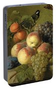 Still Life Of Peaches  Grapes And Plums On A Stone Ledge With A Bird And Butterfly Portable Battery Charger