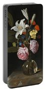 Still Life Of Roses Lilies And Other Flowers In A Glass Vase On A Marble Ledge Portable Battery Charger