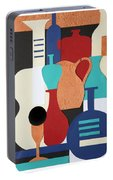Still Life Paper Collage Of Wine Glasses Bottles And Musical Instruments Portable Battery Charger