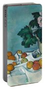 Still Life With Apples And A Pot Of Primroses Portable Battery Charger