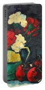 Still Life With Apples And Carnations Portable Battery Charger by Ana Maria Edulescu