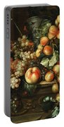 Still Life With Apples And Grapes Portable Battery Charger